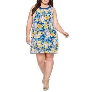Robbie Bee Navy/Yellow Floral Printed Shift Dress